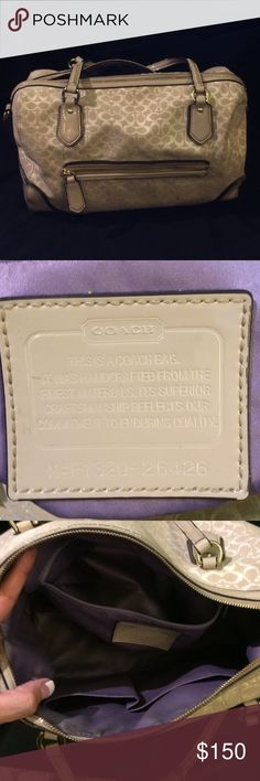 Authentic coach handbag Make an offer! Selling coach signature ivory handbag. This is an authentic bag with lavender lining. There is some wear in the handles (as shown in pic) and some minor staining inside bag. Still in good condition and a great deal. Please do not hesitate to make an offer of interested. Coach Bags Satchels