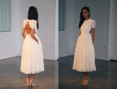 2015 Gorgeous Lace Prom Dresses With Crew Neck Short Sleeves Open Back Or Backless Ankle Length Plus Size White Evening Party Dresses for Brides