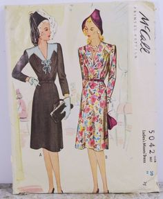 b1c6c70cc4d3 Vintage McCall Pattern 5042 Womens Size 20 Dress with Pointed Yoke 1940's  Size 20 Dresses,