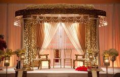 Hilton Buena Vista Orlando, Suhaag Garden, Florida Indian Wedding Decorator, Decoration Vendors, Mandap, Gujurati Wedding, White and Gold, Gold Jali Mandap