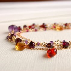 FREE Shipping. Triple Strand  Gemstone by lindatrentjewelry, $215.00
