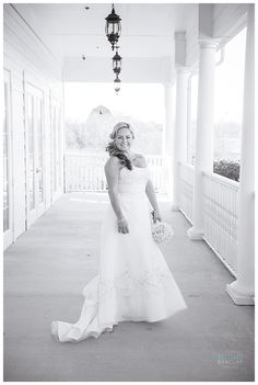 Bride on back porch at The Milestone Krum by brittanybarclay.com