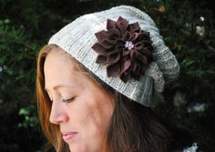 Hand Knit Slouch Hat, Heather gray/grey adult