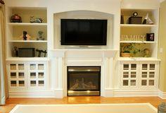 Nice storage ideas around fireplace!