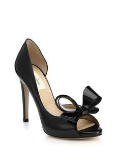 Valentino D'Orsay Patent Leather Bow Pumps in Black- iconic, timeless
