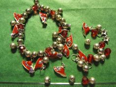 RED PURPLE HAT METAL PENDANTS RED SILVER PLASTIC BEADS - ASSORTED VINTAGE LOT#6a