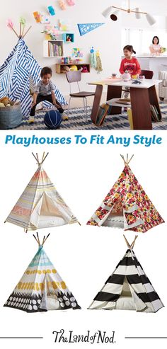 The Chic Technique: Create a playspace anyplace with a teepee or playhouse. By choosing a playhouse that's both functional and chic, you can add interest to your living space, while also keeping the little ones busy. Diy For Kids, Crafts For Kids, Craft Projects, Projects To Try, Outdoor Projects, Fun Crafts, Diy And Crafts, Toy Rooms, My New Room