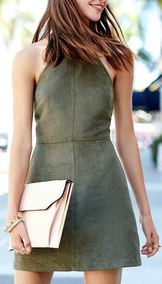 a4c556f46dad Saloon Swoon Olive Green Halter Dress Halter Dress Casual