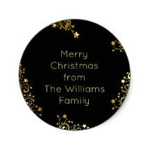 Merry #Christmas Stars Black Gold Shiny Chic #addyourtext Classic Round #Sticker
