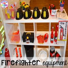 Station Dramatic Play Fire equipment for a Fire Station dramatic play is so much for a fire safety theme or community helpers theme.Fire equipment for a Fire Station dramatic play is so much for a fire safety theme or community helpers theme. Dramatic Play Themes, Dramatic Play Area, Dramatic Play Centers, Preschool Dramatic Play, Firefighter Dramatic Play, Community Helpers Activities, Fire Safety Week, Eyfs Activities, Space Activities