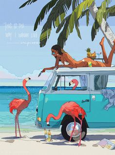 Life Is Tough, But Keep Going: Colorful And Sunny Illustrations By Xi Zhang - Simon Kiesewetter - Art Surf Vintage, Retro Surf, Vintage Art, Art Sketches, Art Drawings, Life Is Tough, Surf Art, Beach Art, Aesthetic Art