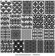 stock vector : Set of monochrome classic geometric seamless patterns. Traditional vector backgrounds collection.