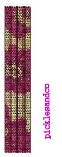 FLORAL peyote bracelet cuff beading pattern PDF personal use download
