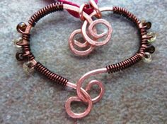 Handmade BFF Interlocking Copper Heart Pendant with Wire Wrapped Beading, JanesAlleybyLeslie on Etsy