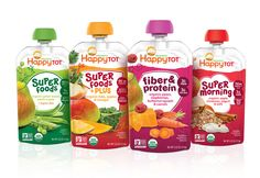 Redesigned Packaging Helps Consumers Identify Happy Family The baby food brand needed new packaging to stand out and create better sub-brand organization. Kids Packaging, Juice Packaging, Food Packaging Design, Product Packaging, Branding Design, Organic Packaging, Label Design, Dog Treat Recipes, Healthy Dog Treats