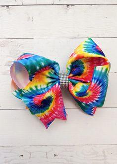 Large Double Loop Rainbow Leopard Hair Bow