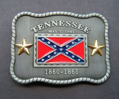TENNESSEE SOUTHERN STATE REBEL CONFEDERATE CSA FLAG BELT BUCKLE