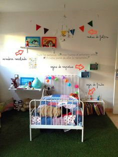 Children room decorated with recycled materials. Decoration child room.