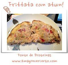 """Delícia de frittata!!! Essa """"frittata"""" que a famosa omelete também pode ser feita no forno e com qualquer outros ingredientes, é uma excelente fonte de proteínas e você pode consumi-lá qualquer hora do dia, pode ser no café-da-manhã, almoço ou jantar. INGREDIENTES: 5 ovos 1 tomate 1 cebola azeitonas 1 atum ou sardinha enlatado Sal …"""
