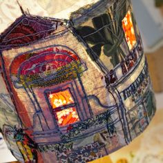 Decorative Living Chelsea Town Hall 2015 Paris Rooftops hand stitched lampshade by Marna Lunt Free Motion Embroidery, Embroidery Art, Machine Embroidery, Fabric Art, Fabric Crafts, Creative Textiles, Paris Rooftops, Textile Artists, Textile Design