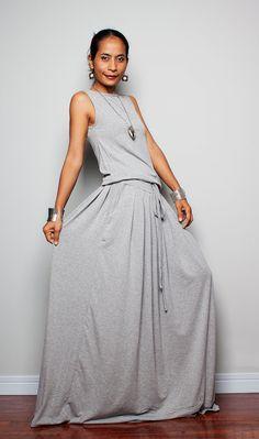 Maxi Dress   Sleeveless Light Grey dress  Autumn by Nuichan, $59.00