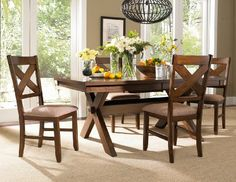 roundhill furniture karven 5piece solid wood dining set with table and 4 chairs - Cheap Dining Room Sets