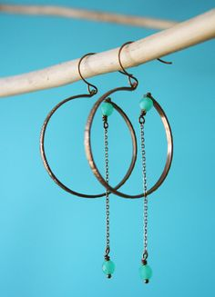 copper hoop chain earrings #Jewellery