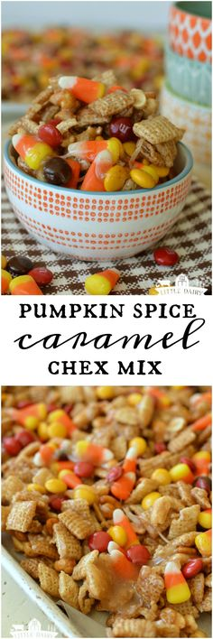 Pumpkin Spice Caramel Chex Mix- A no fuss, no bake Chex mix! Cozy fall flavors, salted caramel, and chocolate candies.this stuff is so yummy! May be my favorite Chex mix yet! (no bake fall desserts) Trail Mix Recipes, Snack Mix Recipes, Cooking Recipes, Snack Mixes, Candy Recipes, Pumpkin Recipes, Fall Recipes, Holiday Recipes, Christmas Recipes