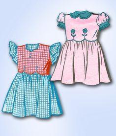 1940s ORIGINAL Darlin Mail Order Tot Dress Pattern w Flower Applique Sz 4 | eBay