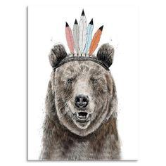 Balazs Solti Native Bear Women& T-Shirt - White - XL - White-female White Tea Towels, Animal Party, Party Animals, Bear Men, Siberian Tiger, Freelance Illustrator, Brown Bear, Traditional Tattoo, New Art