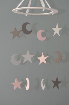 Stars and Moons Nursery Mobile - Pink and Gray