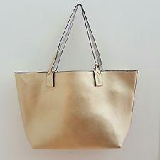 Borsa Donna Reversibile Shopping Bag A Spalla Color Oro Reversibile In Argento