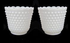 Set of 2 Vintage Hobnail Milk Glass Planters by TieTheKnotVintage, $16.00