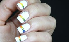 Tape mani over white with rainbow gradient effect!  Nice!!!  ~ pollypolish.com