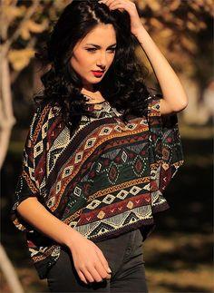 Bayan Bluz Renkli Kilim Desenli | Modelleri ve Uygun Fiyat Avantajıyla | Modabenle