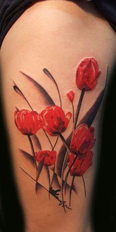 Tulips arm sleeve #tattoo