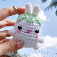 Excited to share the latest addition to my #etsy shop: Amigurumi Crochet Bunny Cupcake Charm Keychain Browny-Orange,White,Creamy http://etsy.me/2FKKAcI
