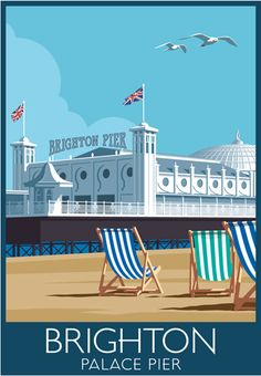 Palace Pier, Brighton. Bring on the summer, sitting in a deck chair eating ice-cream and drinking coffee. Railway Poster style Illustration by www.whiteonesugar.co.uk