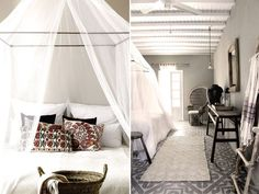 A luxuriously simple and bohemian boutique hotel, with just 33 rooms, is the kind of place I would like to stay if I ever made it to Mykonos. The San Giorgiois picturesque white - accented by colorful kilims, rustic wood furniture, peacock chairs, hanging rattan chairs, netted canopies, patterned