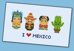 Mexico icons - Mini people around the world - PDF cross stich pattern