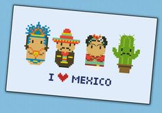 Mexico icons - Mini people around the world - PDF cross stich pattern via Etsy