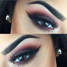 Brown Burgundy Smokey Eye Makeup Idea for Brown Eyes