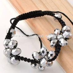 Crystal Glass Faceted Bead Flower Knitted Bracelet Jewelry