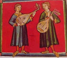 Andalusian lutes from the Cantigas de Santa Maria, c. 1250 AD. Muslims conquered Spain in the 8th Century, and Spain became a musical melting pot, generating new music and instruments. Sound holes resemble 2nd Century Gandhara lute and 7th Century Syrian lute.