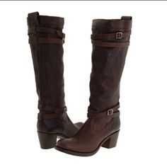 Frye Jane Strappy Boots Brown