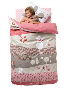 WINTER GARDEN Tiny Cat Duvet Cover PINK DARK SOLID WITH DESIGN - vertbaudet enfant