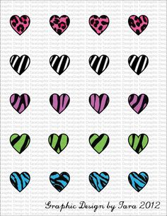 NEW Neon Animal Hearts Print Digital Image Sheet for 1 Inch Bottlecaps Personal and Commercial Use graphicdesignbytara - Craft Cafe