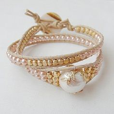 This is an unusual leather wrap bracelet.