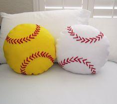 Softball Fleece Throw Pillow, Baseball Pillow by PatternsOfWhimsy on Etsy