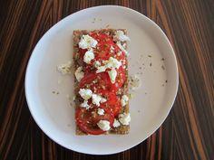 Tomato and Feta Cheese on Crispbread